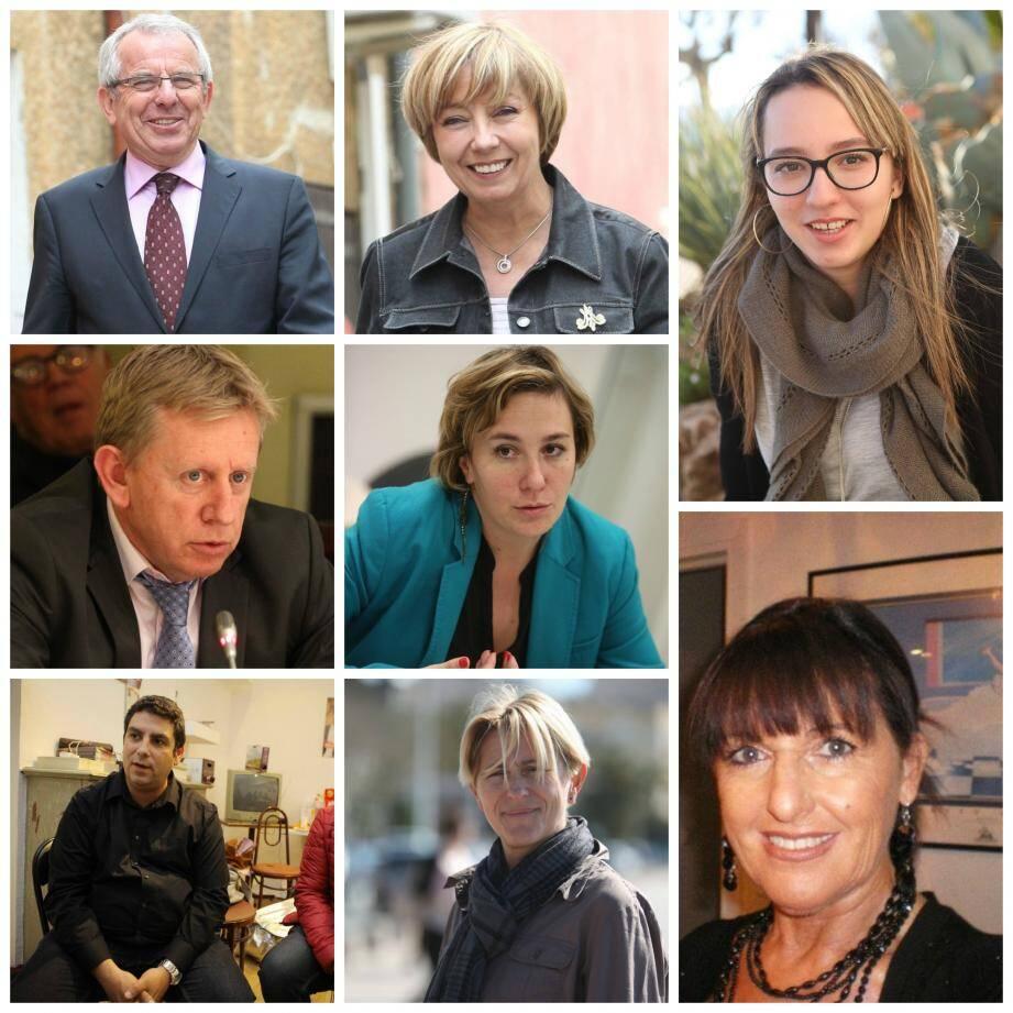 De gauche à droite et de haut en bas, Charles Laugier, Martine Bouvard, Insaf Rezagui, J.-P. Meynet, Elsa Di Méo, Annie Promonet, Tarik Belkhodja et Patricia Hauteur.
