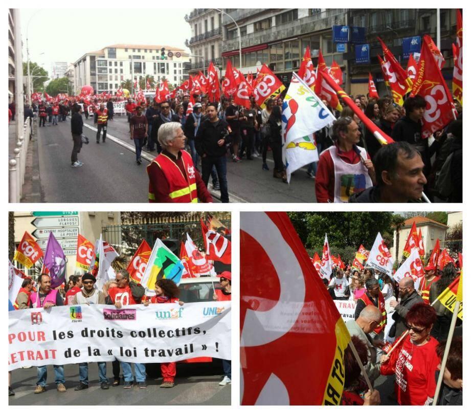 Des centaines de personnes ont manifesté ce jeudi à Toulon (en haut) et Draguignan (en bas)