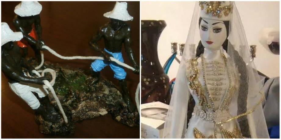 Une sculpture de pêcheurs, une poupée russe et ses broderies... parmi les nombreux cadeaux remis à la vente aux enchères par la ville.
