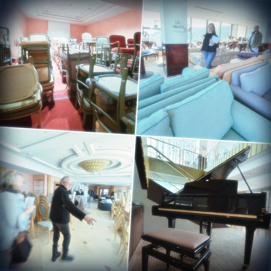Fauteuils de toutes les couleurs, canapés, piano, lustres de Murano... Le palace met aux enchères 1200 lots aujourd'hui et demain.