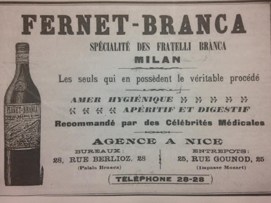 Une publicité dans le Petit Niçois en 1910, qui évoque le Palais Branca.