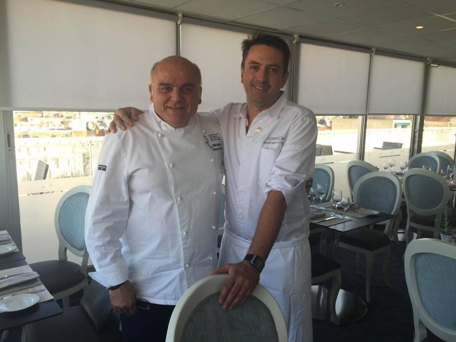 Stéphane Furlan, le 100e Maître Restaurateur azuréen avec Matteo Mansi, l'ambassadeur du  titre et le premier à l'avoir eu sur la Côte.