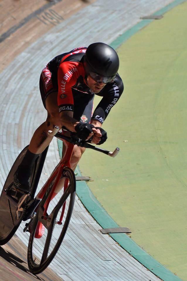 Le Niçois (Cavigal) Christophe Morin a explosé le record de l'heure FSGT sur la piste de Hyères.(DR)