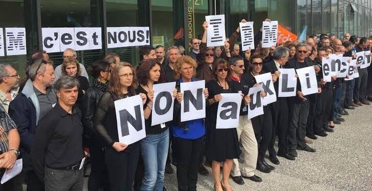 La colère des salariés d'IBM  à Nice en mai dernier.