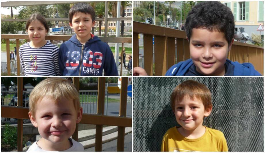 En haut de gauche à droite: Linda, 9 ans, et son frère Mansour, 11 ans. La petite fille explique que « demain, il n'y a pas école parce c'est la grève ». Pour Jibril, 10 ans, « c'est l'Ascension. Je ne sais pas trop à quoi ça correspond mais je sais que c'est une fête ». En bas, de gauche à droite : Alban, 4 ans et Adam, 4 ans.