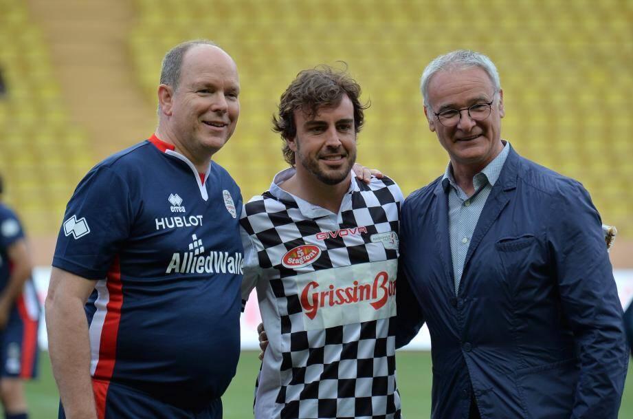 Le Prince Albert II, Fernando Alonso et Claudio Ranieri.