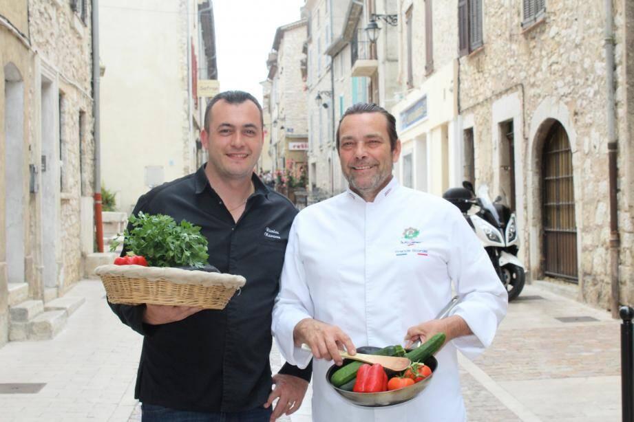 La leçon de cuisine des chefs, Francis Scordel et Nicolas Navarro, durant la fête des jeunes agriculteurs.