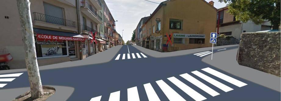 Le nouvel aménagement à l'étude prévoit la mise en sens unique de la rue du château.