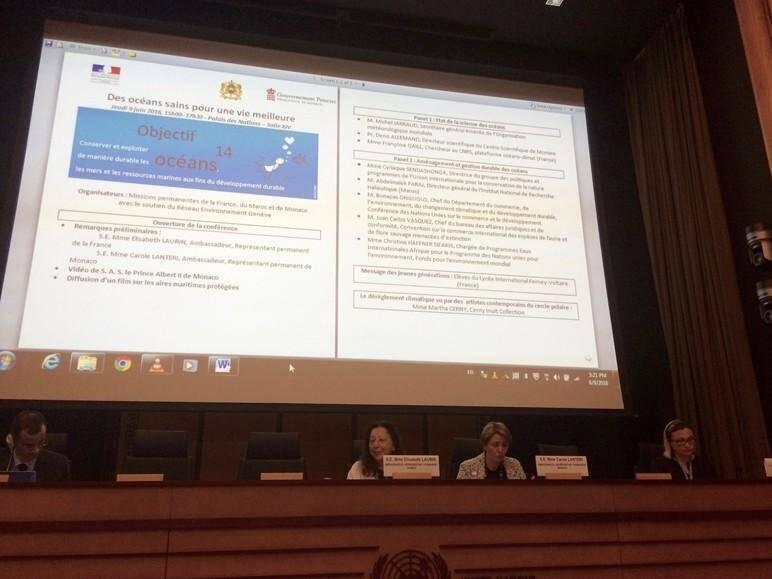 Elisabeth Laurin, ambassadeur, Représentant permanent de la France ; Carole Lanteri, ambassadeur, Représentant permanent de Monaco ; Diana Rizzolio, du Geneva Environment Network et modérateur de l'événement.