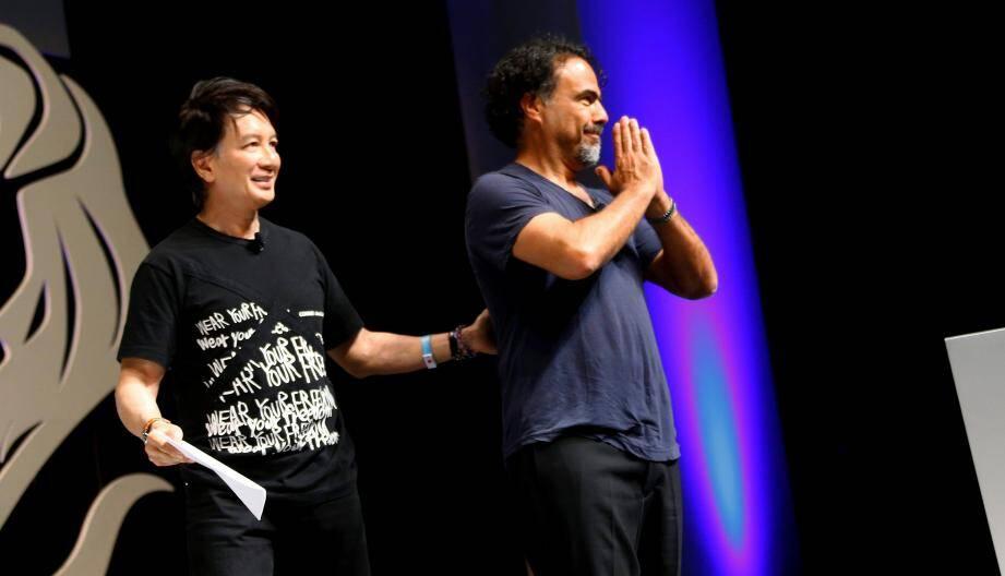Alejandro Gonzales Inarritu (à droite) : le réalisateur oscarisé de The Revenant était à Cannes hier pour le congrès mondial de la publicité