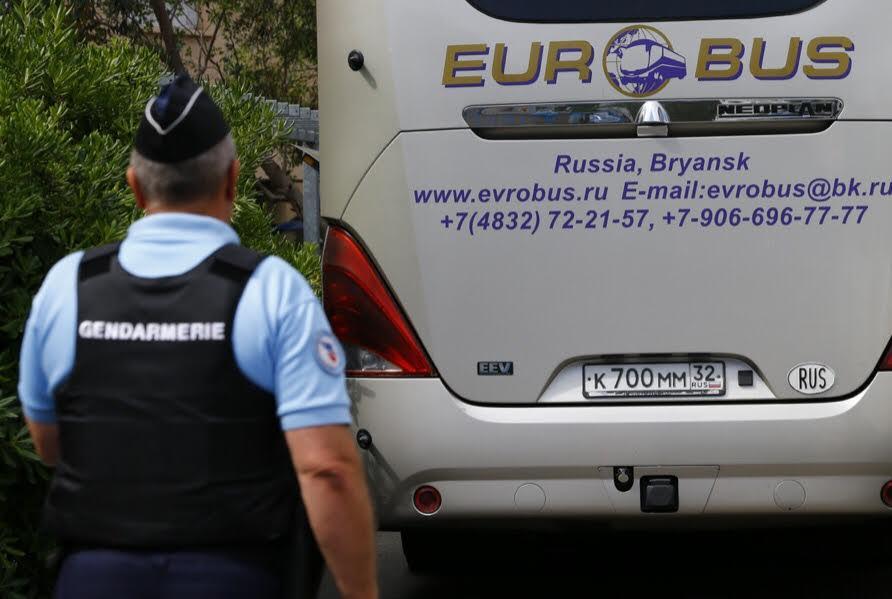 Le bus des supporters russes.