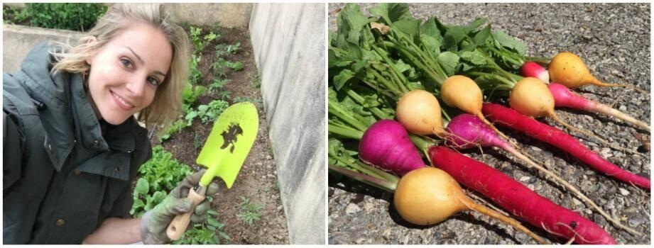 Jessica Sbaraglia bichonne ses salades et peut se vanter de la qualitédes beaux radis de son potager expérimental.