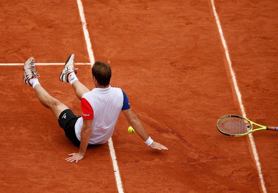 Richard Gasquet à terre, débordé par Murray...