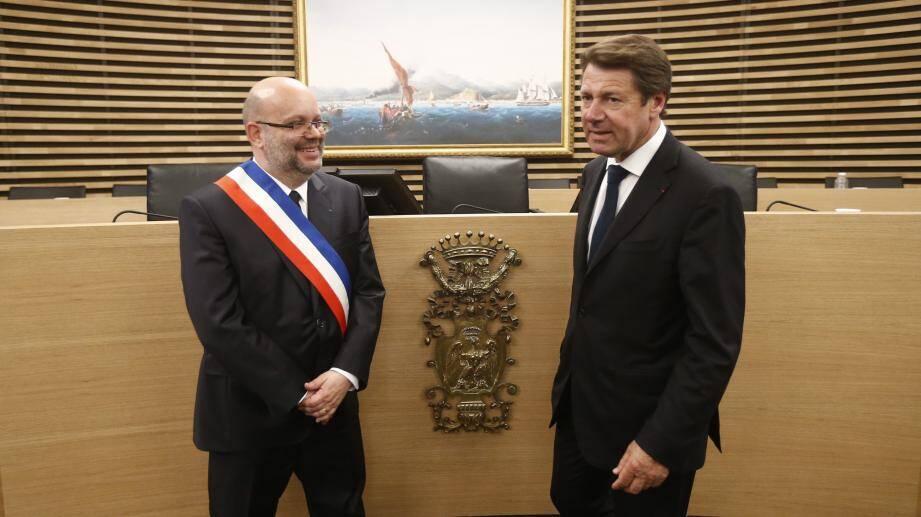 Philippe Pradal à la droite de Christian Estrosi lors du conseil municipal de lundi.