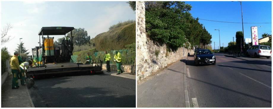 Tandis que la chaussée va être réduite à la Castagne pour limiter la vitesse des véhicules (à droite), les trottoirs vont être prolongés du chemin des Cabots jusqu'au rond-point de la Romaine.