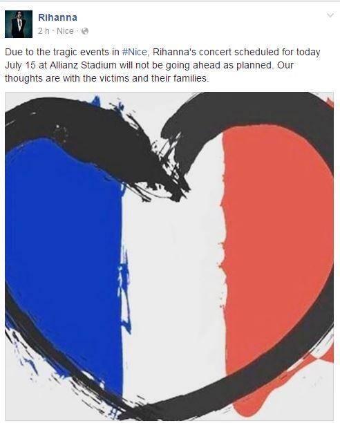 Initialement prévu hier soir, le concert de Rihanna a été finalement annulé via ce message posté sur les réseaux sociaux de la star.(Capture d'écran Facebook)