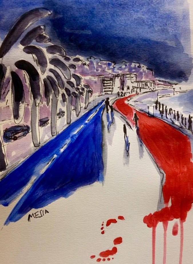 Un des nombreux dessins sur Twitter, après l'attentat de Nice.