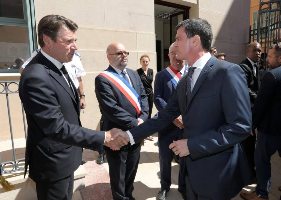 Christian Estrosi et Philippe Pradal lors de la venue de Manuel Valls à Nice.