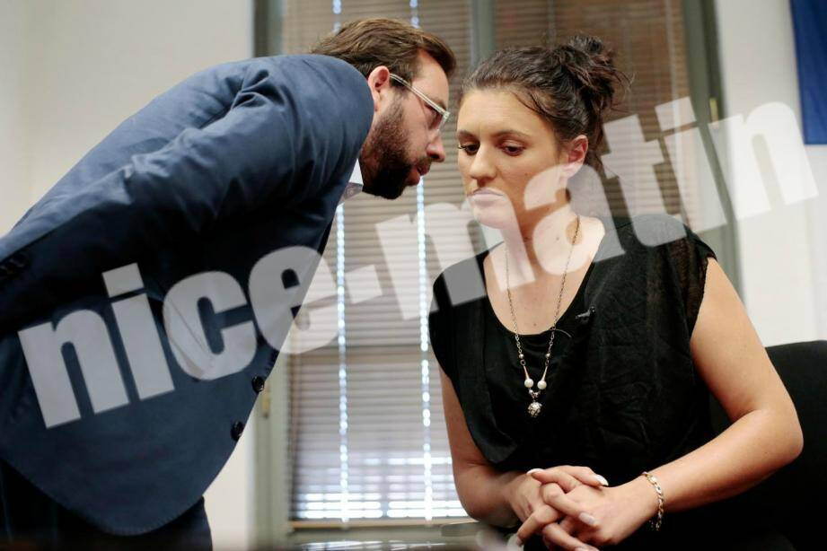 Sandra Bertin et son avocat Me Adrien Verrier.