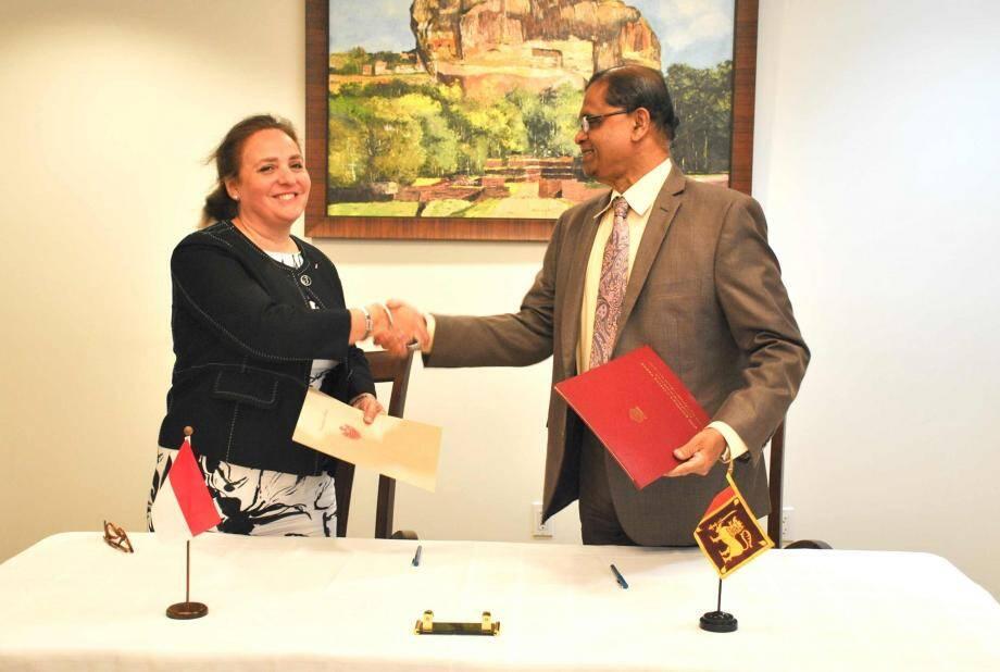 Isabelle Picco, ambassadrice, représentante permanente de Monaco auprès des Nations Unies et Amrith Rohan Perera, ambassadeur, représentant permanent du Sri Lanka auprès des Nations Unies. (DR)