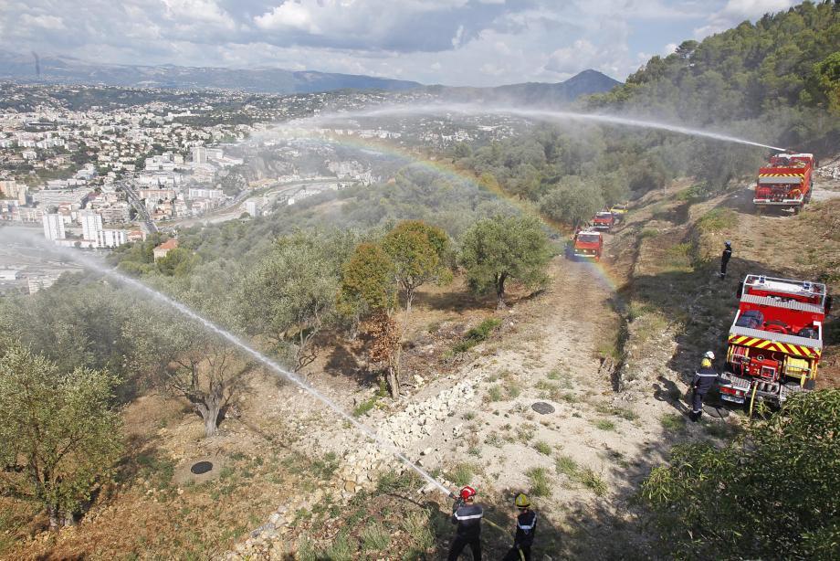 Moyens terrestres et aériens de lutte contre les feux de forêts étaient hier à l'œuvre sur le Mont-Gros.