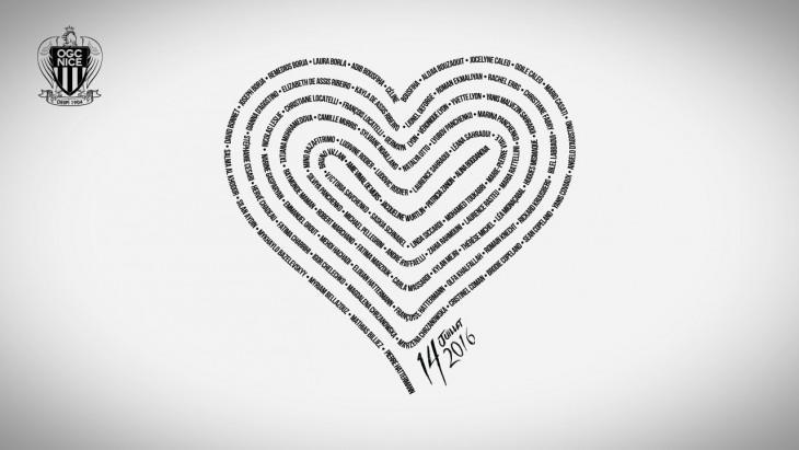 Le symbole du match: un cœur reprenant les noms des 85 victimes.