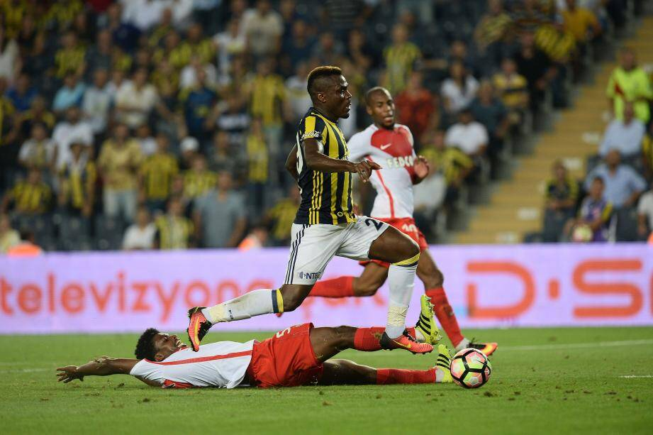 UEFA Champions League Third qualifying round first leg match between Fenerbahce Istanbul and Monaco on July 27, 2016 at the Ulker Stadium in Istanbul,Turkey.Pictured: Emmenuel Emenike of Fenerbahce and Jemerson #5 of Monaco.