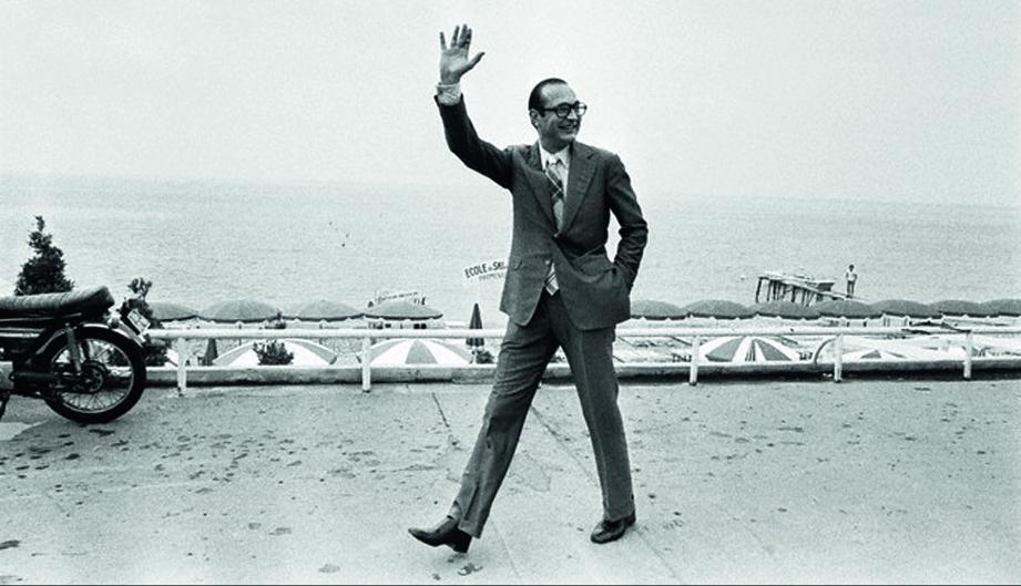 Jacques Chirac sur la promenade des Anglais en 1975.