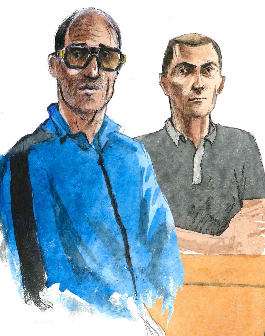 Samir Sedoud et Pascal Serrabocca ont reconnu leur participation au braquage d'un tabac-presse de Taradeau. (Croquis d'audience Rémi Kerfridin)