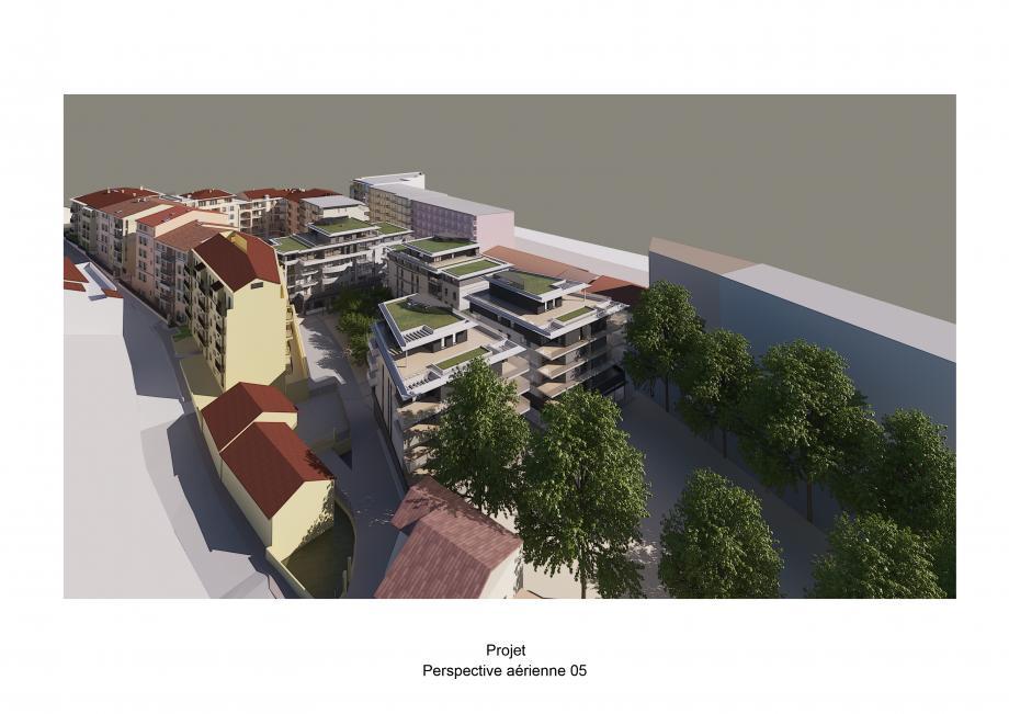 Un projet de six immeubles (quatre au centre et deux en rose à gauche) et de 388 places de parking souterraines, dont 210 publiques mais payantes, qui rebute une partie des riverains.(DR)