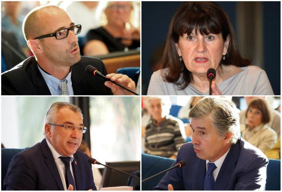De haut en bas et de gauche à droite : Marc Moschetti (opposition), Danielle Hébert (adjointe aux Travaux), le maire Joseph Segura, et Michel Ghetti (opposition).
