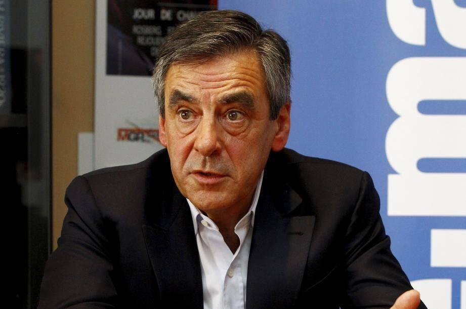 François Fillon face a la rédaction.