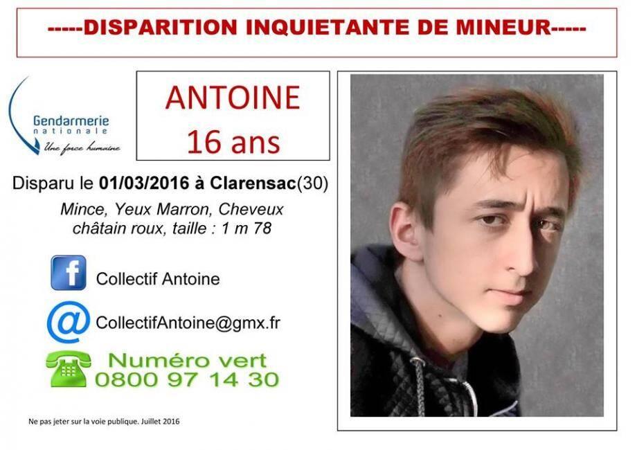 La fiche de disparition d'Antoine.