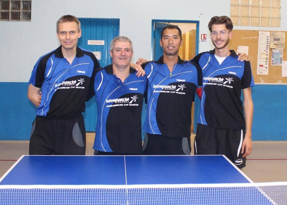 L'équipe pré-régionale avec de gauche à droite : Olivier Perret, Jean-Régis Moreau, Duc Nguyen et Nicolas Daccache. (DR)