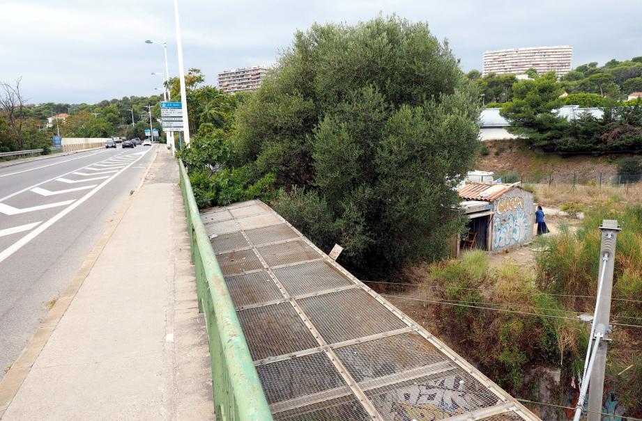 En contrebas de l'avenue de Cannes, coincée entre l'autoroute et la voie ferrée, vit, depuis un an et demi, une famille de treize personnes, dont trois enfants.