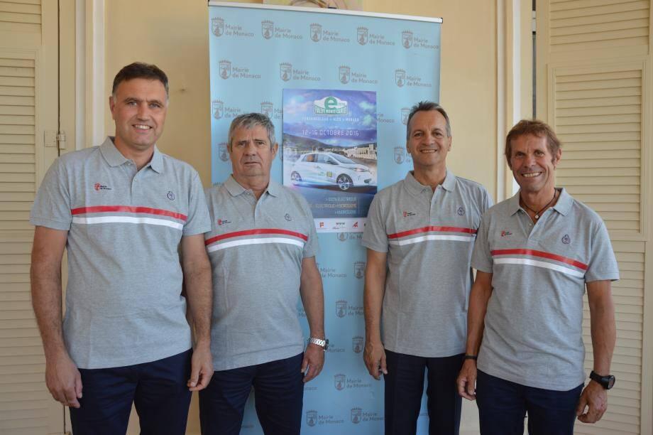 Serge Pastor et Christophe Ponset, employés communaux, Georges Marsan, le maire, et Jacques Pastor, son adjoint délégué aux sports et aux loisirs.(DR)