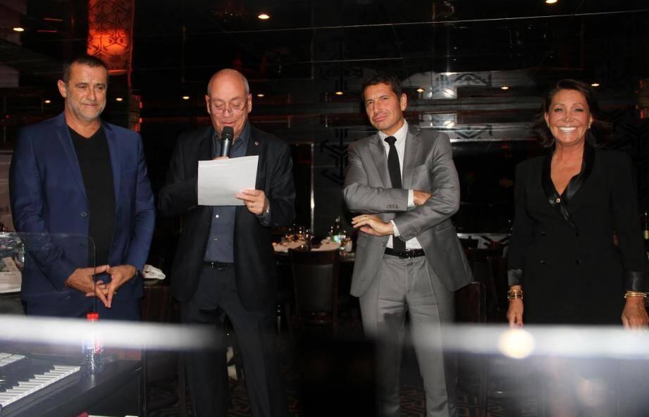 Pierre-Antoine Navarro (président du Bäoli), Jacques Journo (président Lions Cannes Festival), David Lisnard, Any Chouchana (chef protocole).