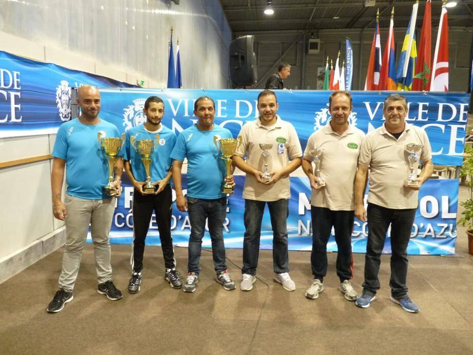 De gauche à droite : Roger Mascon, Jérémy Fernandez, Bastien Santiago, vainqueurs et Alessio Cocciolo, Stefano Bruno et Donato Goffredo, finalistes.