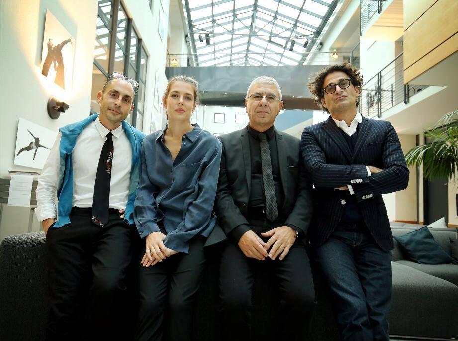 Le quatuor des Rencontres philosophiques, autour de Charlotte Casiraghi (de gauche à droite) : Joseph Cohen, Raphael Zagury-Orly et Robert Maggiori.