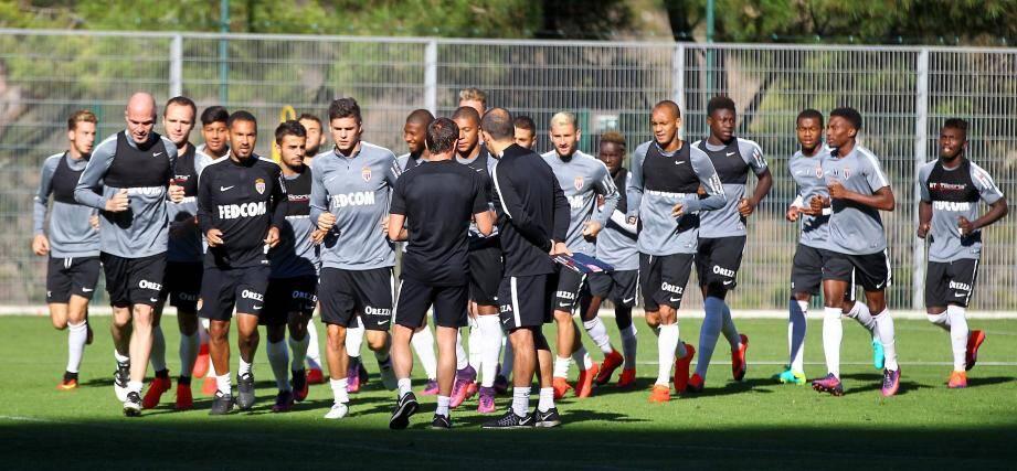 A La Turbie, les joueurs de l'AS Monaco se sont entraînés avec la CFA pour maintenir la cadence.