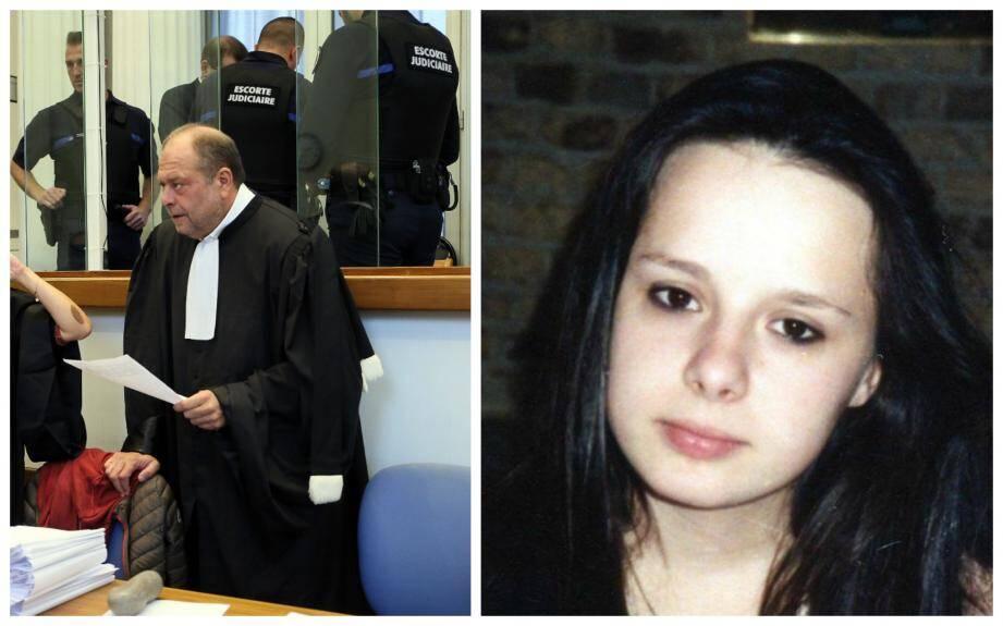 Me Dupond-Moretti, avocat de l'accusé avec ce dernier masqué derrière. A droite, une photo de Stéphanie Fauviaux.