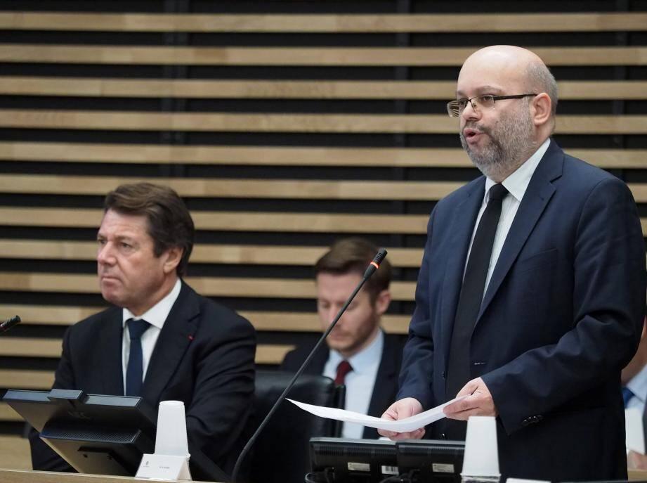 Philippe Pradal, maire de Nice, et Christian Estrosi, premier adjoint, lors du conseil municipal  de la ville de Nice ce jeudi.