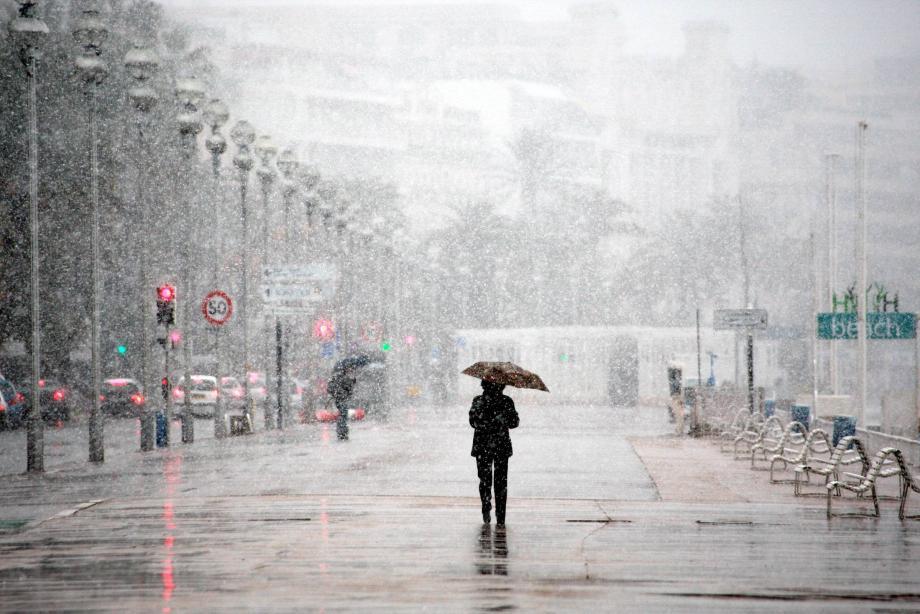 La neige à Nice, en février 2010.