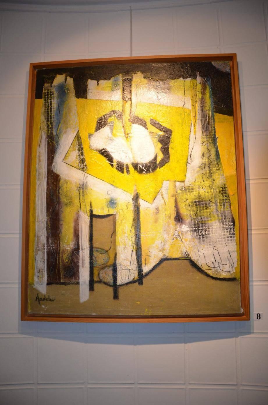 Pour cette exposition, les œuvres d'Andelu font appel à des techniques mixtes et à des couleurs de forte intensité.