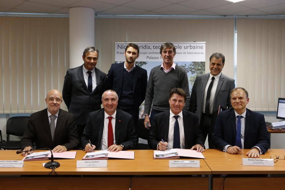 L'étape suivante de la constrcution après le choix du projet lauréat, la promesse de vente du terrain a été ratifiée avant-hier, au sein de l'établissement public d'aménagement de la Plaine du Var.(DR)