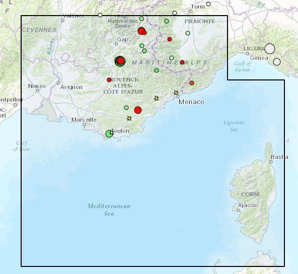 Une capture d'écran du site « http://sismoazur.oca.eu ». On y distingue clairement les derniers épicentres de séismes. Hormis les trois plus forts enregistrés vers Gap, les autres ne peuvent être ressentis.(Repro SismoAzur)