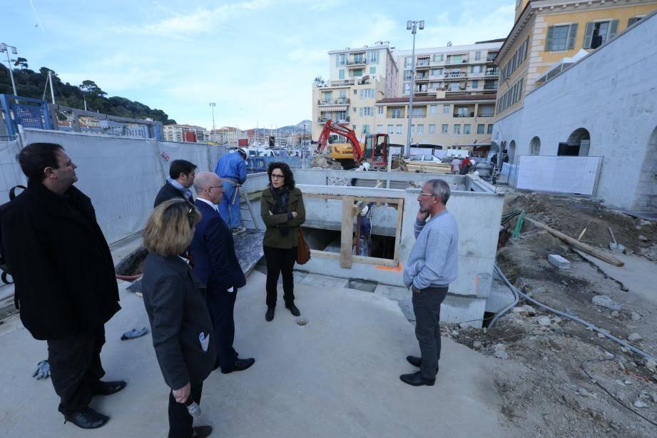 Visite de chantier, hier matin sur le port de Nice.(DR)