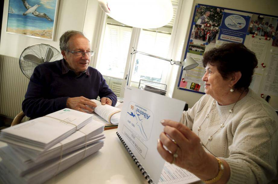 René Mariotti et Jeannine Marpinaud, au QG de l'association Albatros 06.