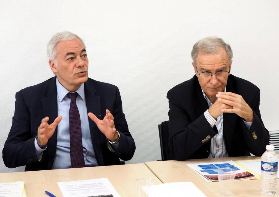 Les socialistes Patrick Allemand et Paul Cuturello, hier.