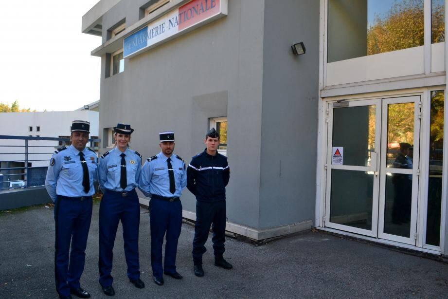 Le commandant de brigade Moungi Ben Ali, l'adjudant-chef Virginie Trelcat, le gendarme Alexandre Simo et le gendarme adjoint volontaire Yann Jouve.